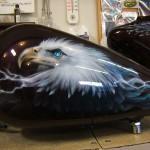 """"""" Eagles and wolves adorn Dwayne's Harley"""". 6 of 8"""