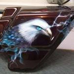 """"""" Eagles and wolves adorn Dwayne's Harley"""". 5 of 8"""