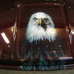 """"""" Eagles and wolves adorn Dwayne's Harley"""". 1 of 8"""