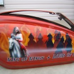 """Revelation"" theme for Rod's honda tank, showing war, starvation, and the king of kings with his horsemen. 2 of 2"