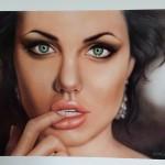 """Portrait of Angelina (painted in Las Vegas at Airbrush Getaway 2013)"""